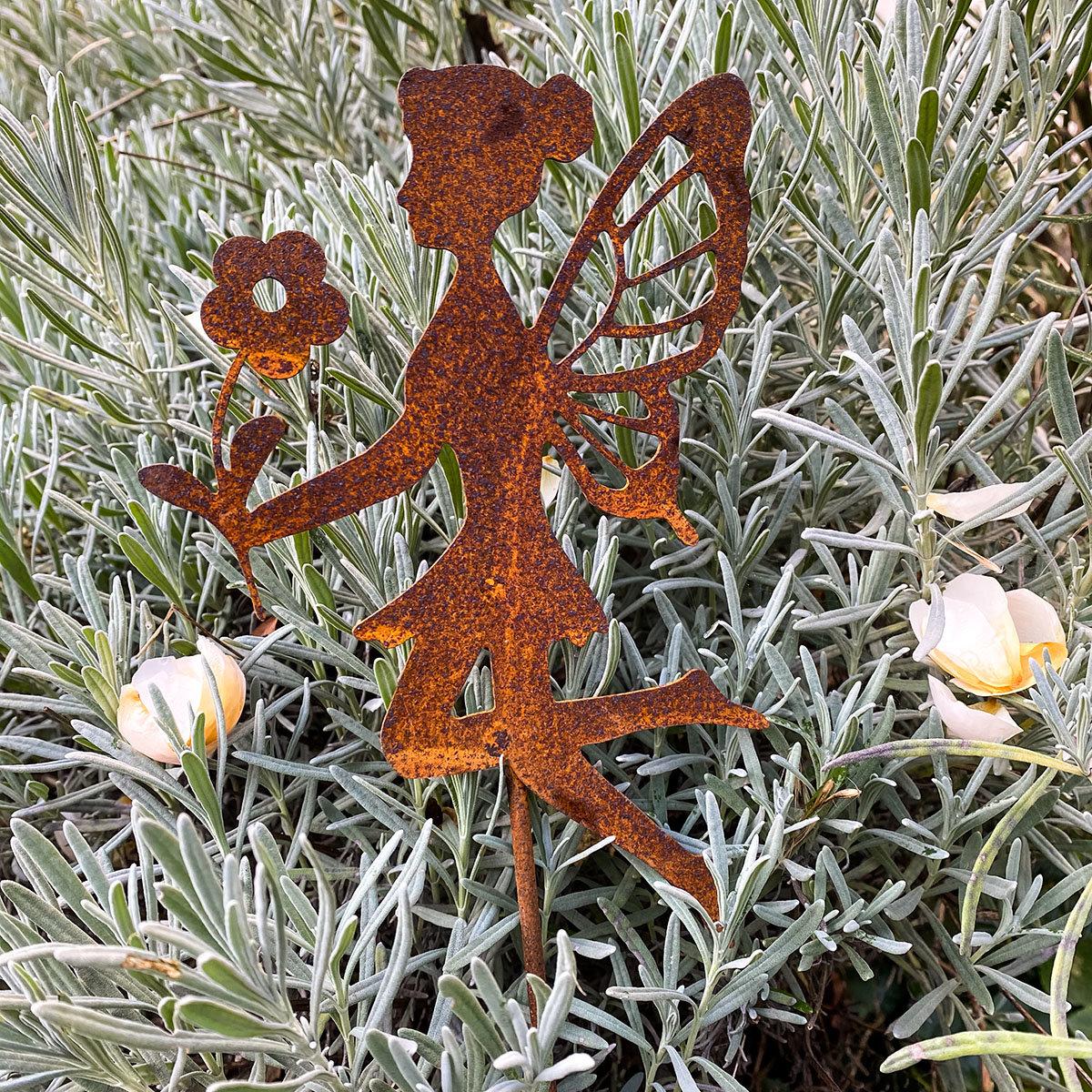 Gartenstecker Fee Luna, Edelrost, 58 cm