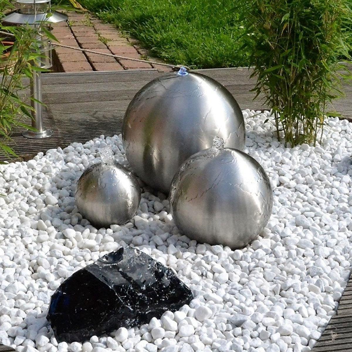 Wasserspiel Edelstahl matt 3er-set, mit Pumpe & Beleuchtung, 40/25/20cm