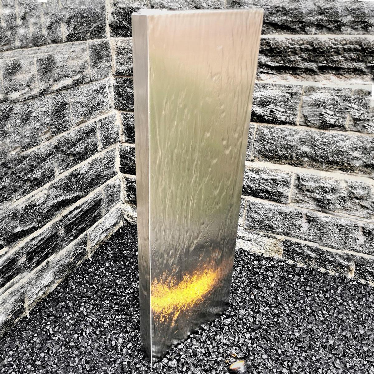 Wasserwand Husum groß, Edelstahl matt, mit Zubehör & Becken, 180x50x6 cm