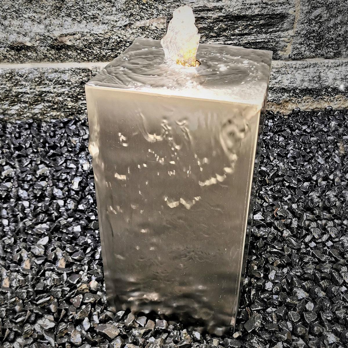 Säulenbrunnen eckig Edelstahl matt, mit Zubehör & Becken, 40x20x20cm