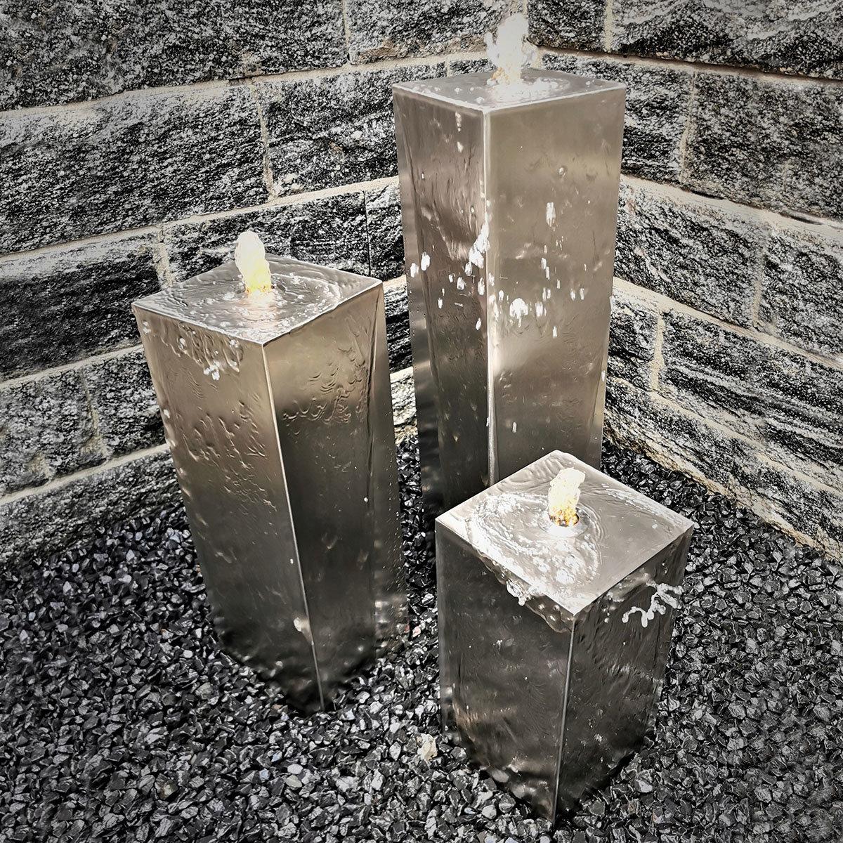 Säulenbrunnen Edelstahl Set, mit Pumpe 80/60/40 cm x 20/20 Beleuchtung