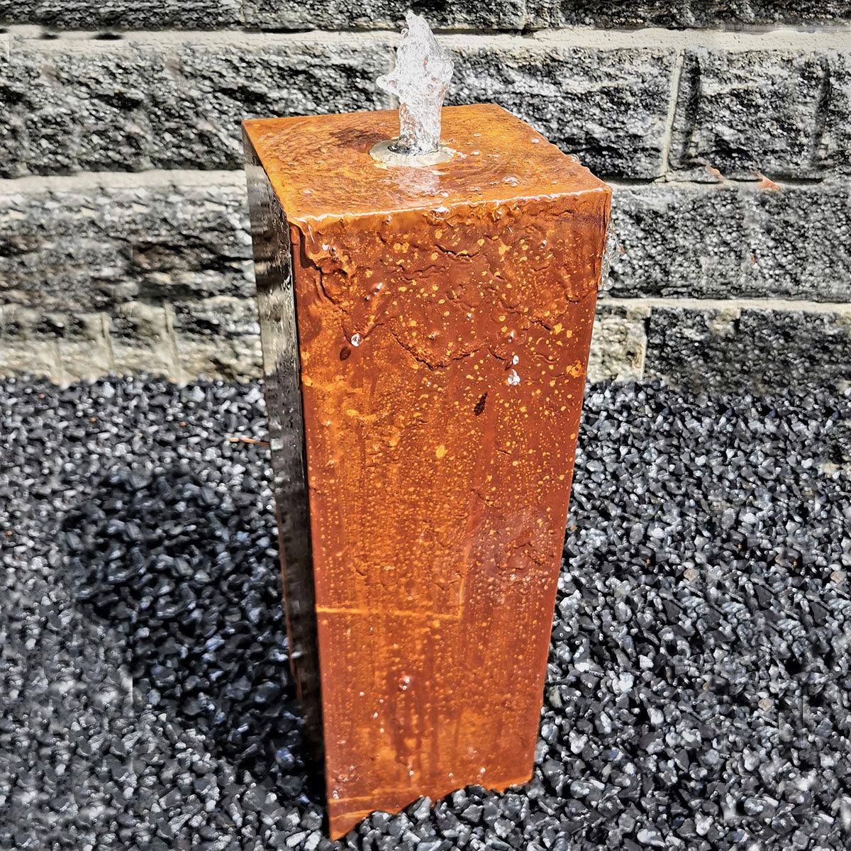 Säulenbrunnen Cortenstahl eckig, mit Zubehör, 60/20/20cm