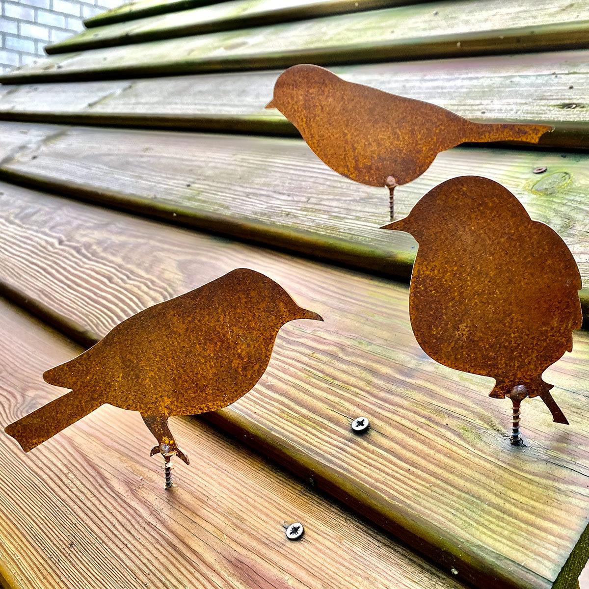 Gartenfiguren Vogel-Trio, mit Schraubgewinde, Edelrost, 3er-Set