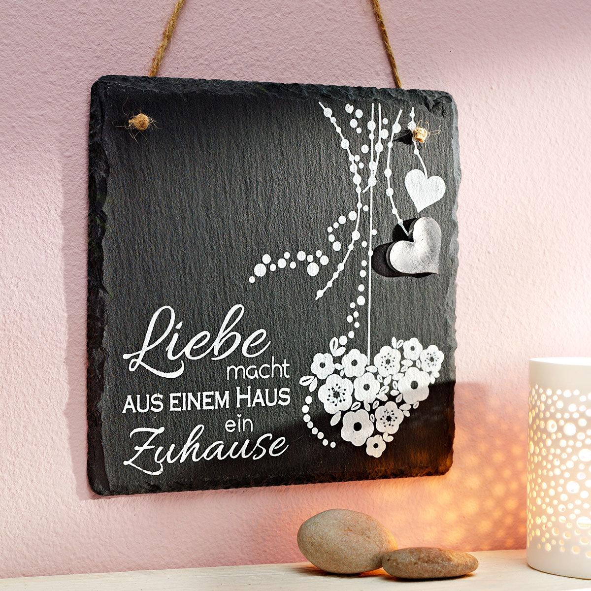 Naturschiefer Tafel Liebe, ca. 15 x 15 cm