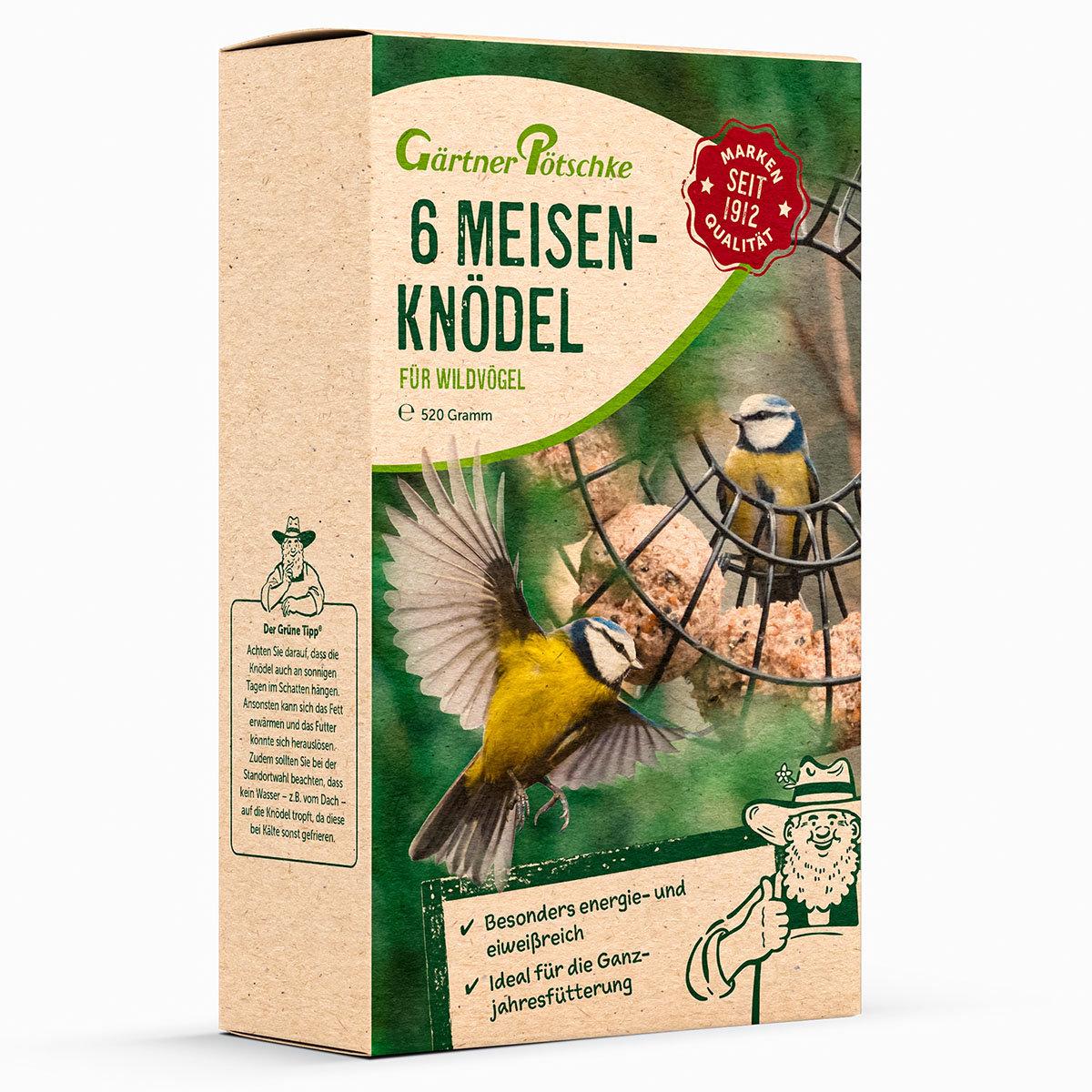 Ganzjahres-Meisenknödel für Wildvögel, ohne Netz, 6 Stück