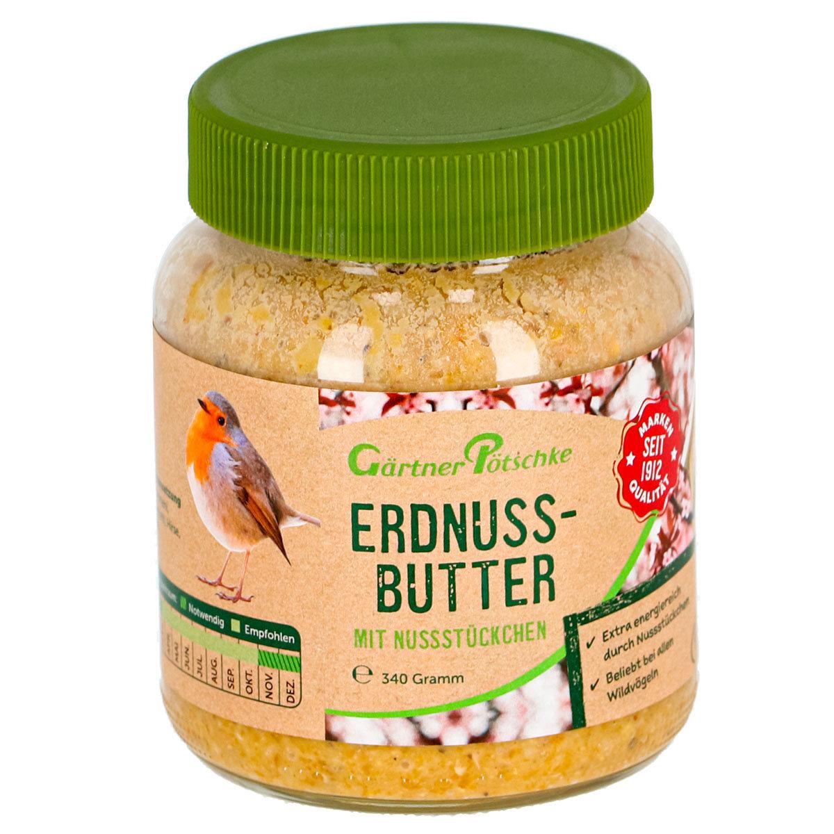 Erdnuss-Butter mit Nüssen, für Wildvögel, im Glas, 340 g