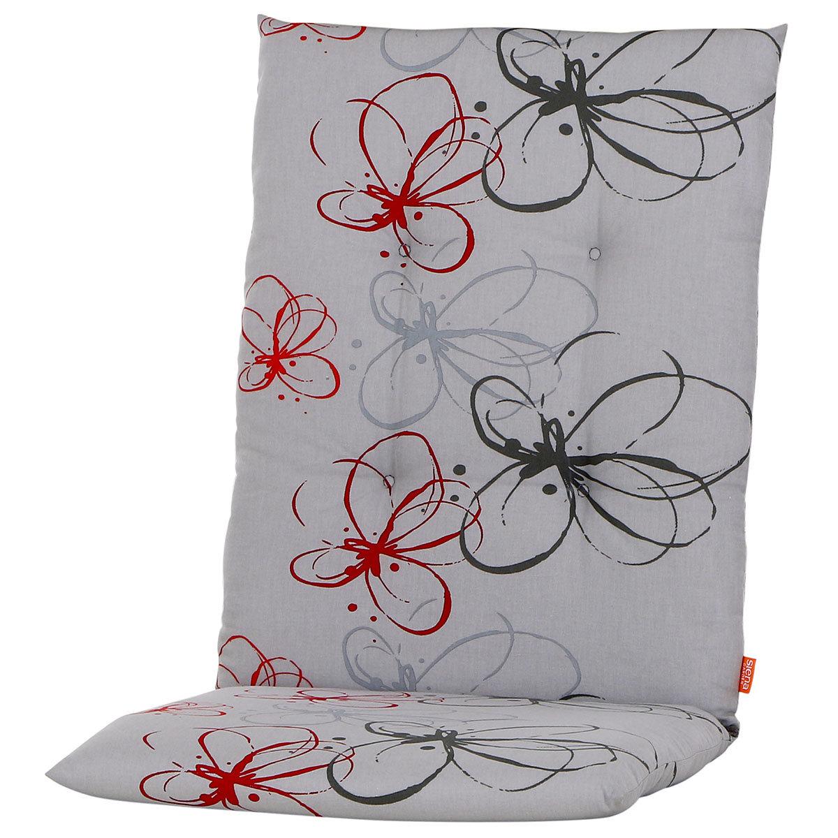 Gartenstuhl-Auflage Mika, rote Blume
