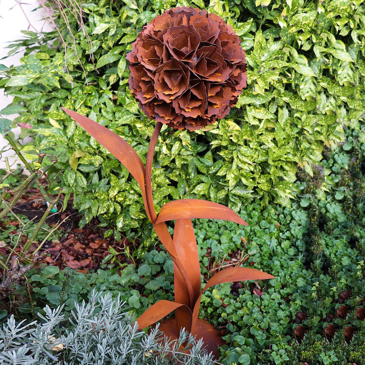 Gartenfigur Pusteblume mit Bodenplatte, Edelrost, 130 cm