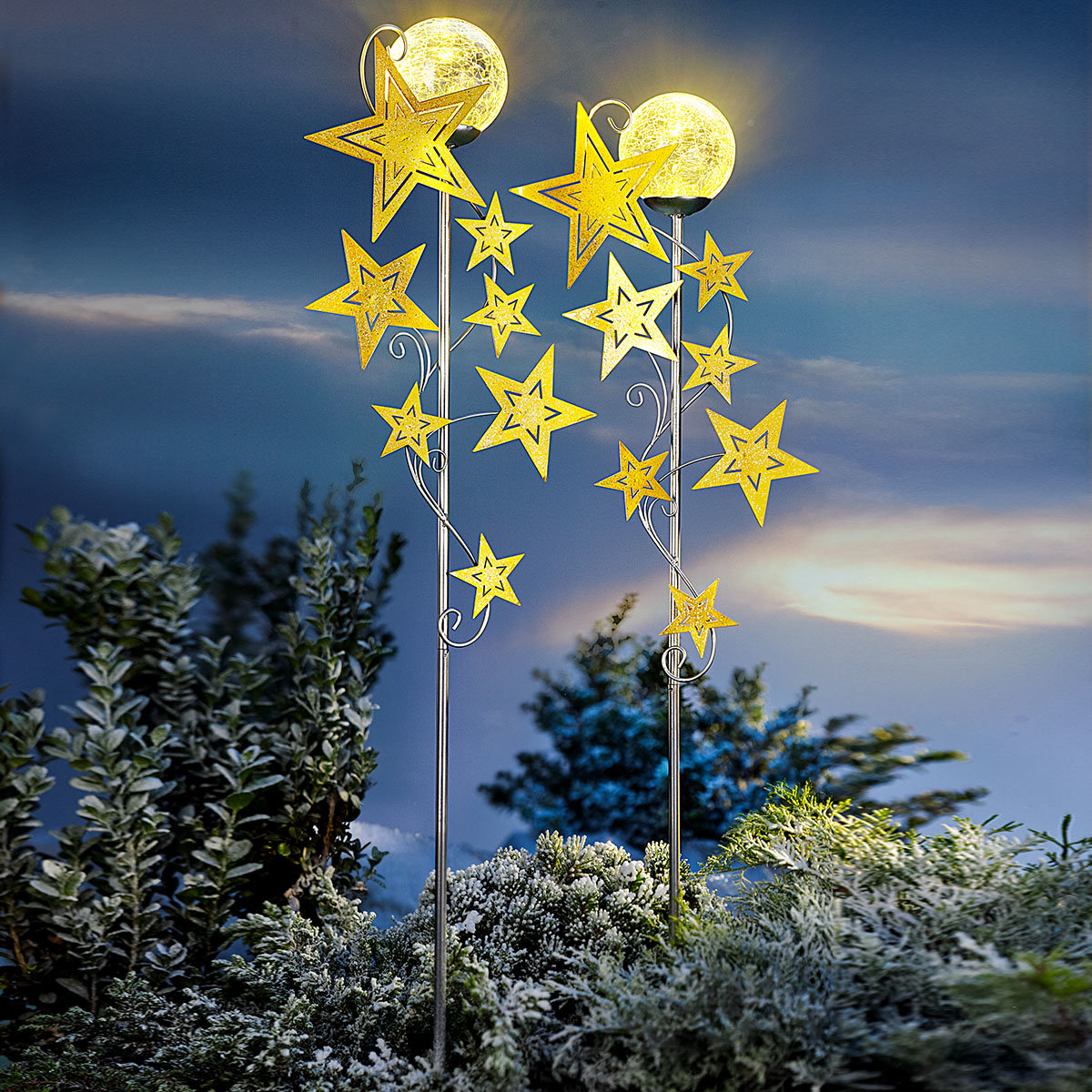 LED-Gartenstecker Sternenschweif, 2er-Set