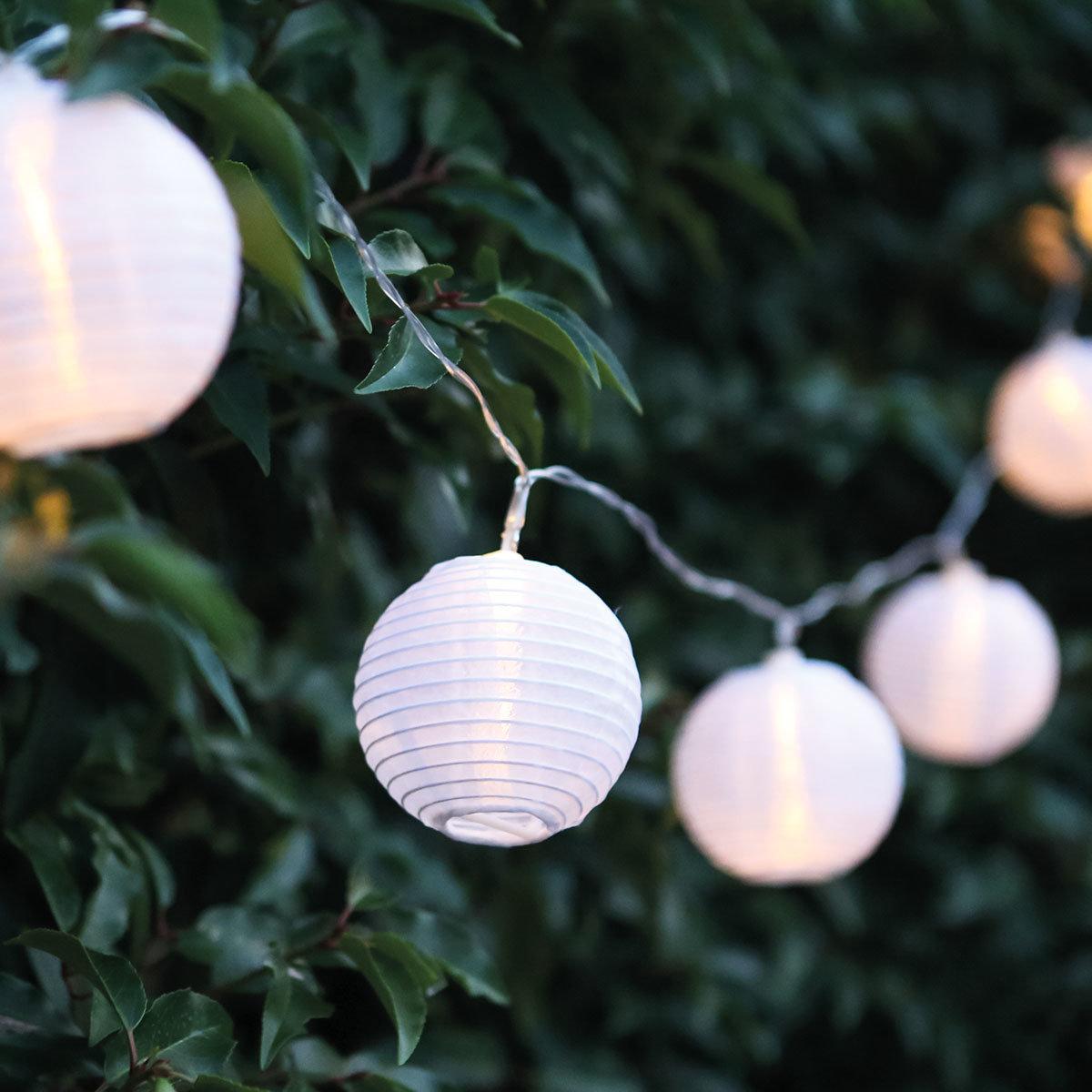 LED Lichterkette Laterne, 7,2 m, Nylon, weiss