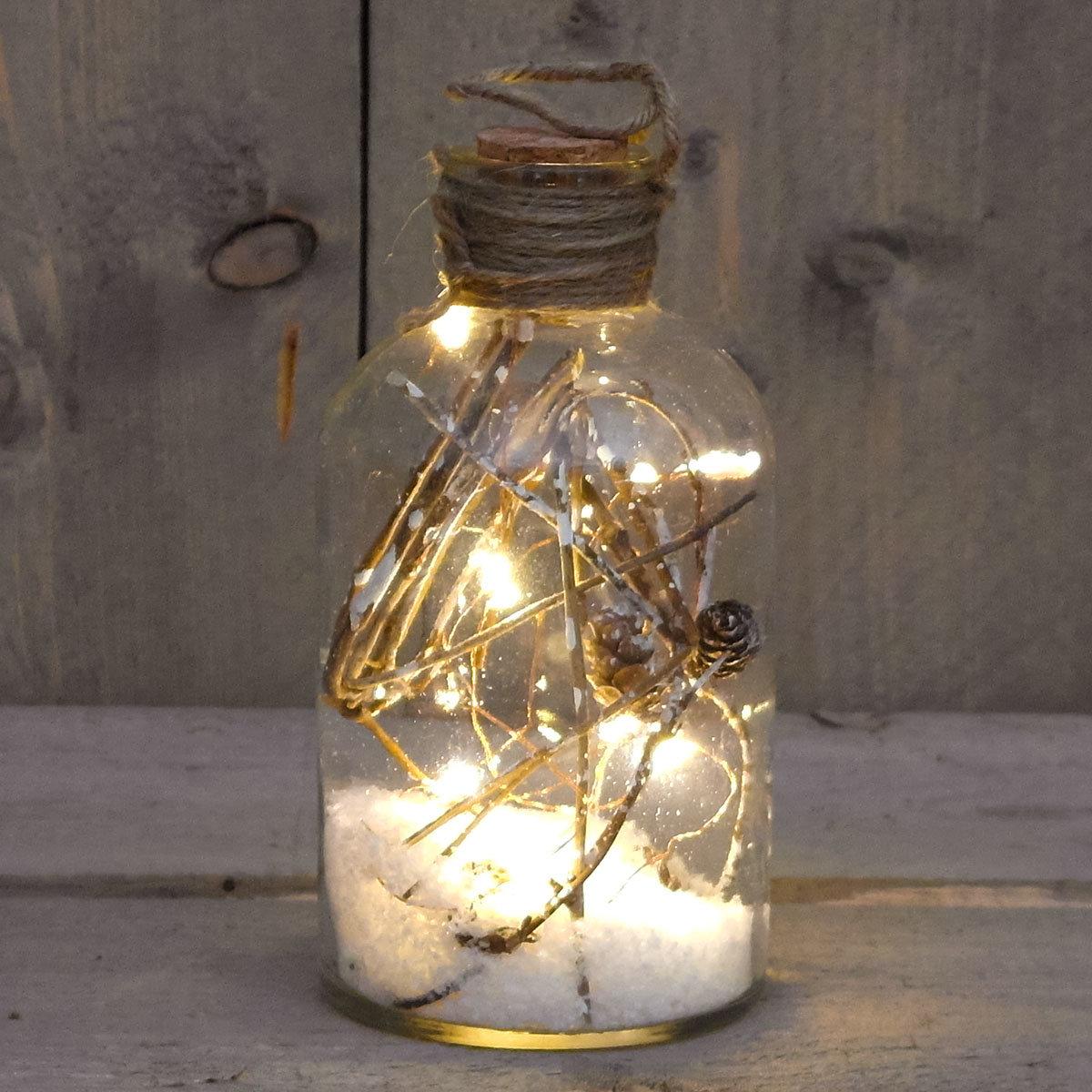 LED-Flasche mit Schnee und Tau, 20x9,5 cm