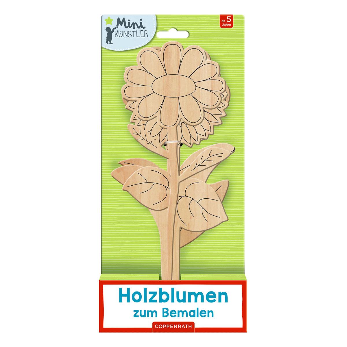 4 Holzblumen zum Bemalen, aus Sperrholz