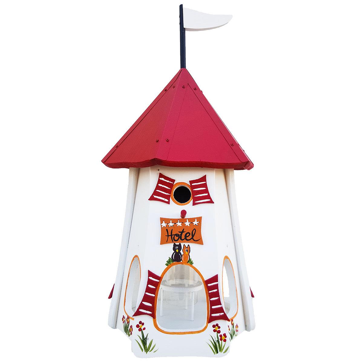 Nistkasten mit Vogelhaus Turmhotel  Zur Eule