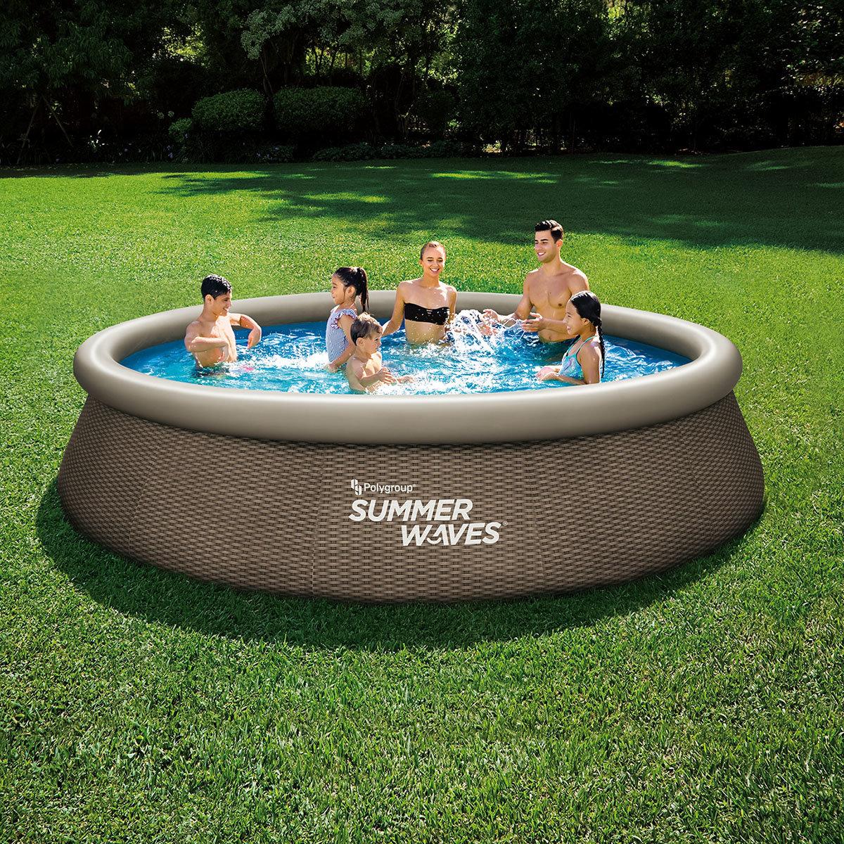QuickUp-Pool Rund mit Filterpumpe, 396 x 84cm, Rattanstyle