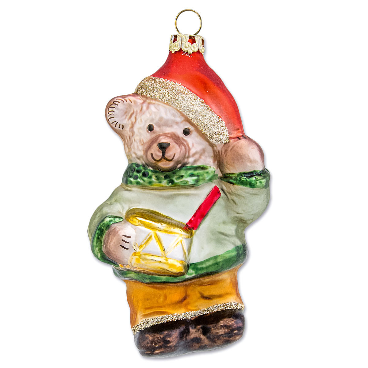 Christbaumschmuck - Teddy mit Trommel, 10 cm, mundgeblasen