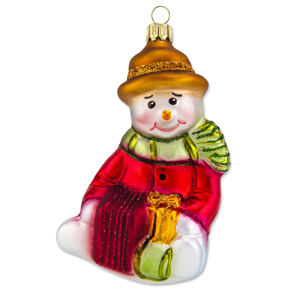 Christbaumschmuck - Schneemann sitzend mit Geschenken, 10 cm, mundgeblasen