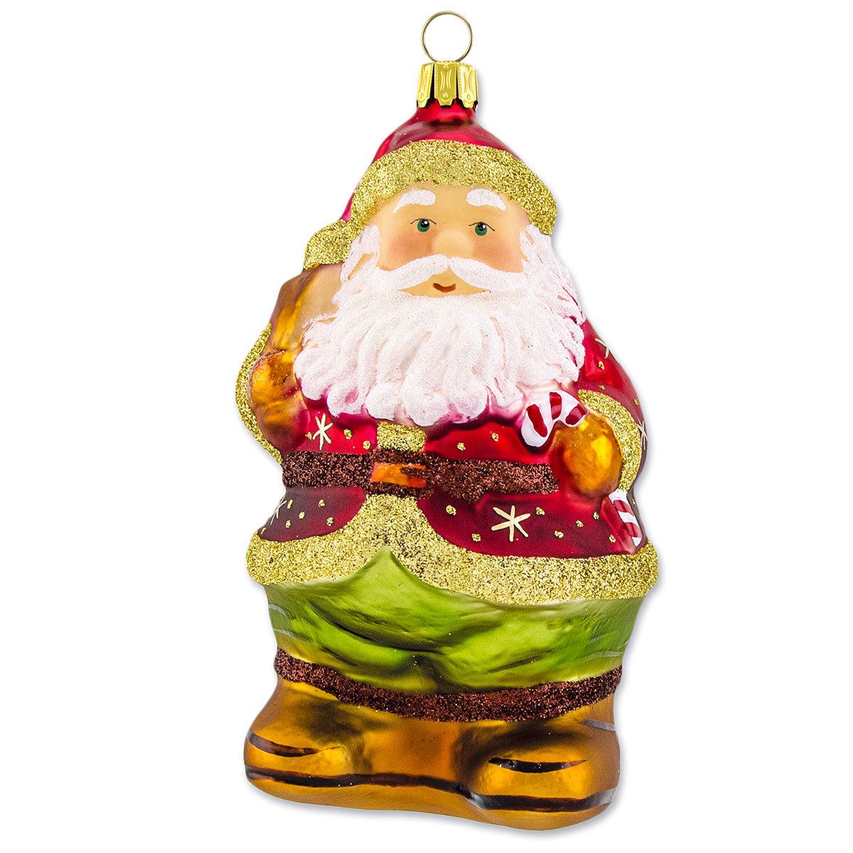 Christbaumschmuck - Weihnachtsmann mit Zuckerstange, 15 cm, mundgeblasen
