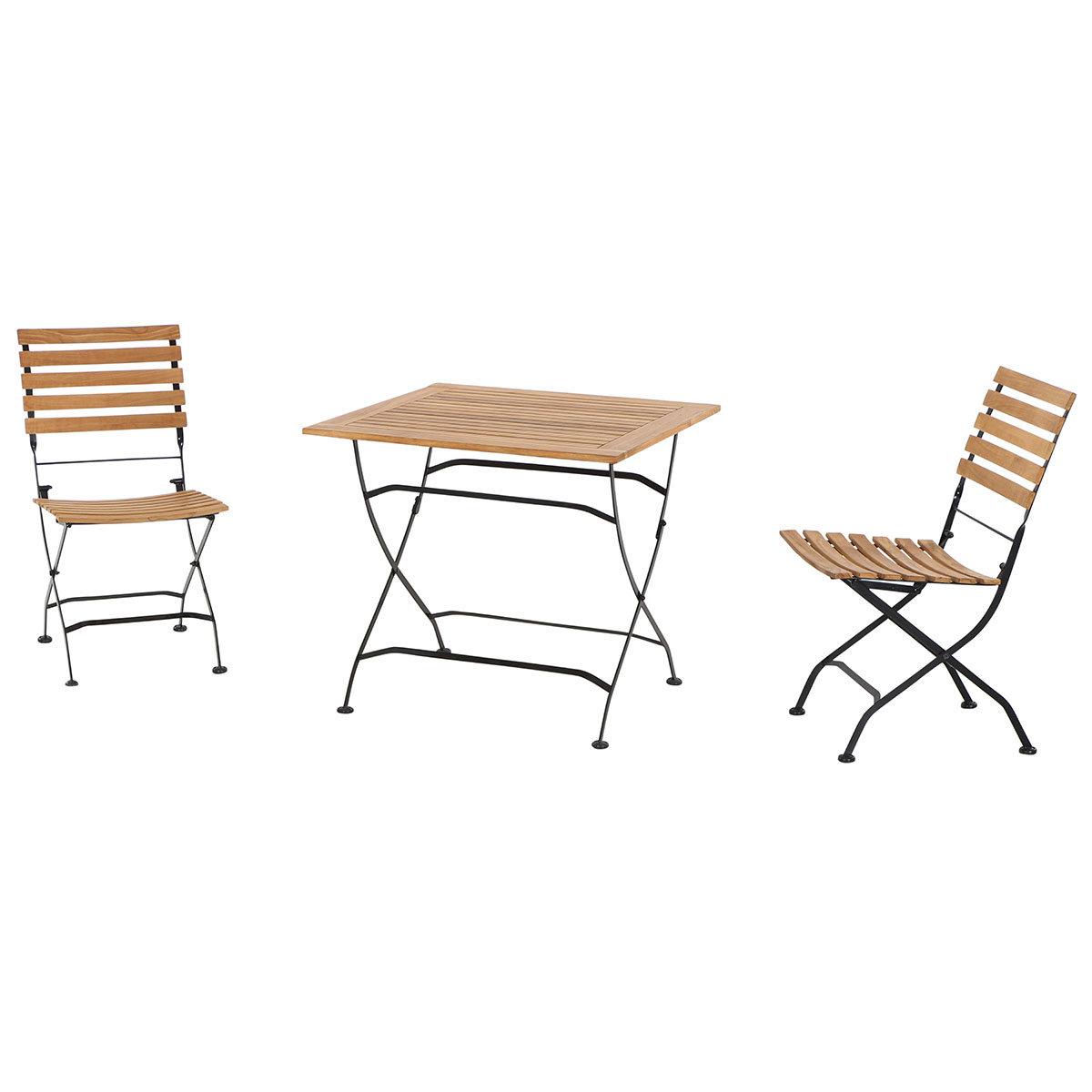 Gartenmöbel-Set Peru mit 2 Klappstühlen und Klapptisch, 80x80 cm