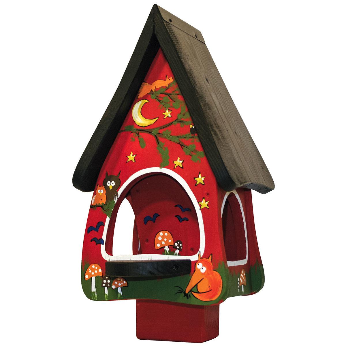 Vogelhaus mit Silo Tiere des Waldes, rot