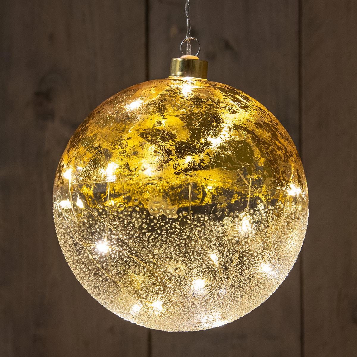 LED-Glaskugel mit Sternen, 15 cm, gold