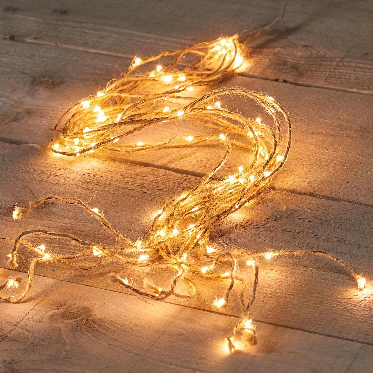 LED-Lichterkette, Jute-Kupferdraht, 1 m