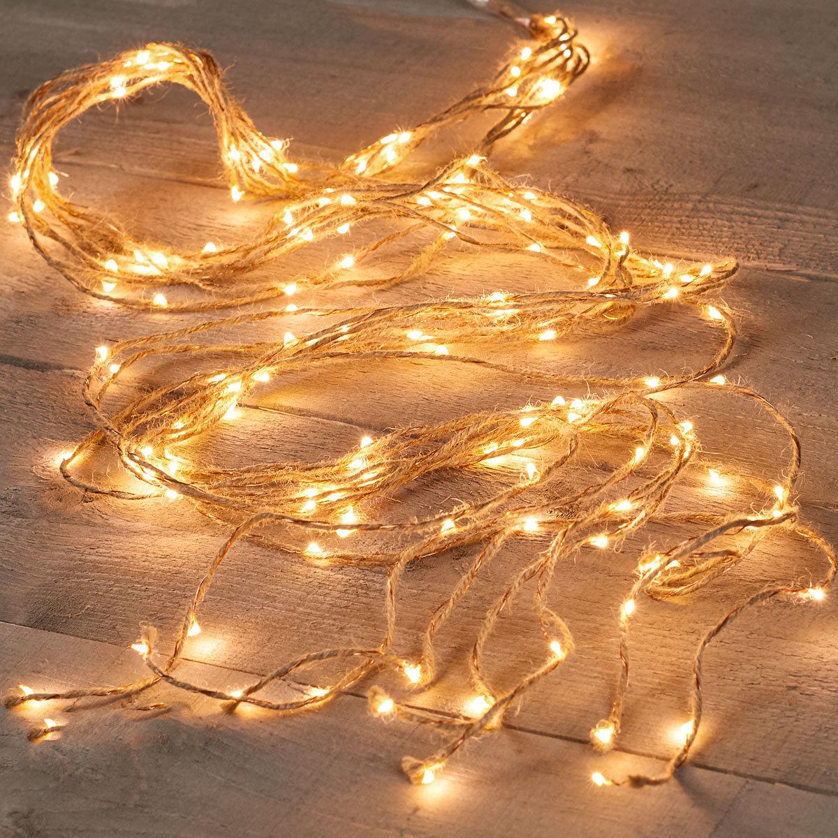LED-Lichterkette Jute-Kupferdraht, 2 m