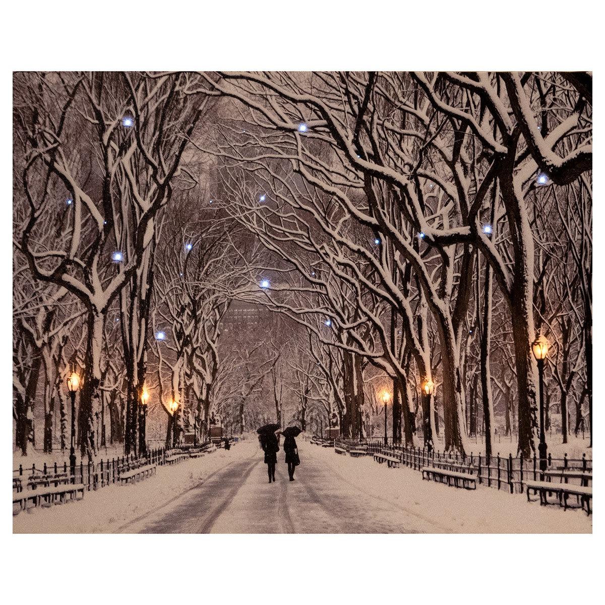 LED-Bild Park im Schnee, 5 LEDs, 38x48 cm