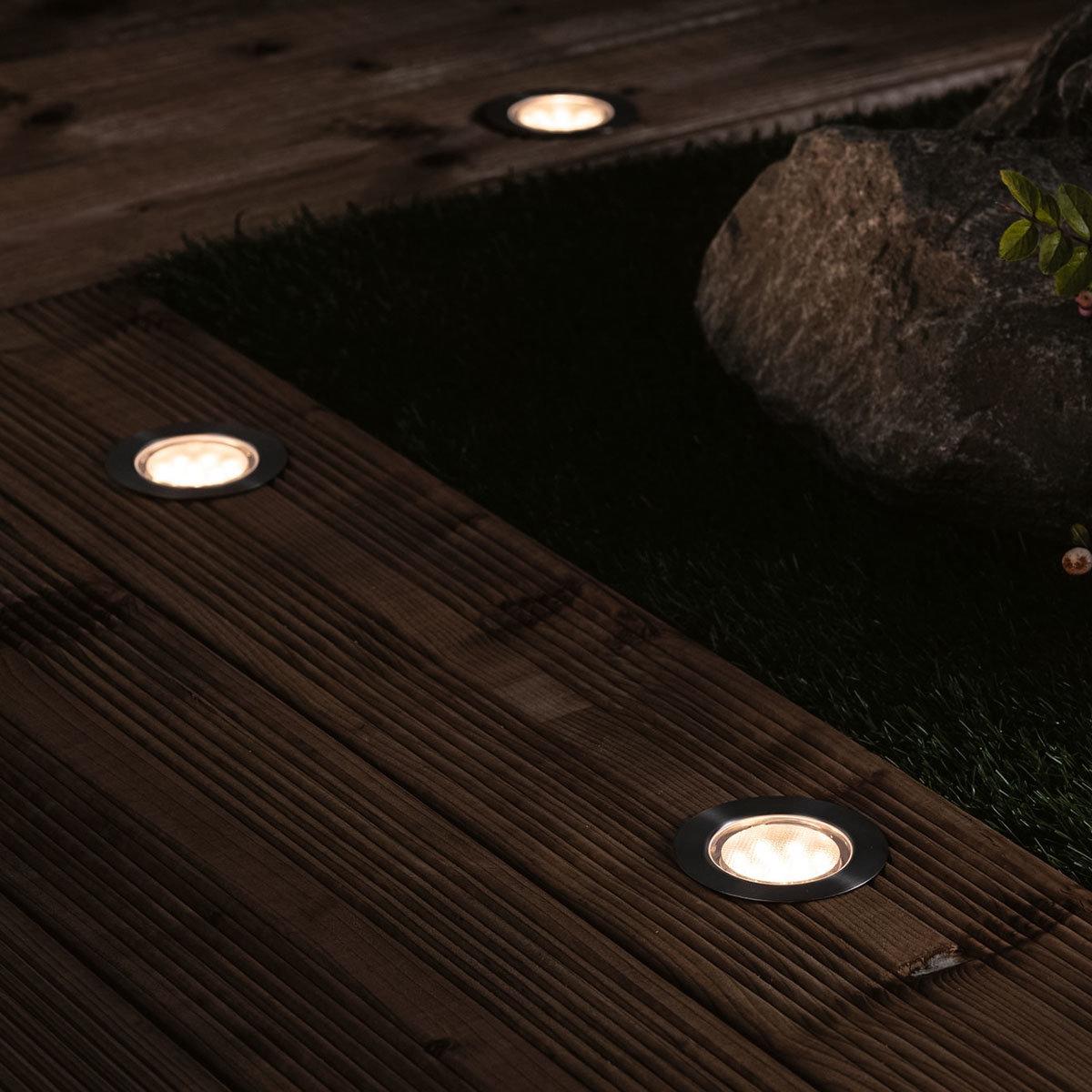 LED Outdoor Plug & Shine Floor Basis-Set, 3000K 3x1,3W  24V IP67, silber