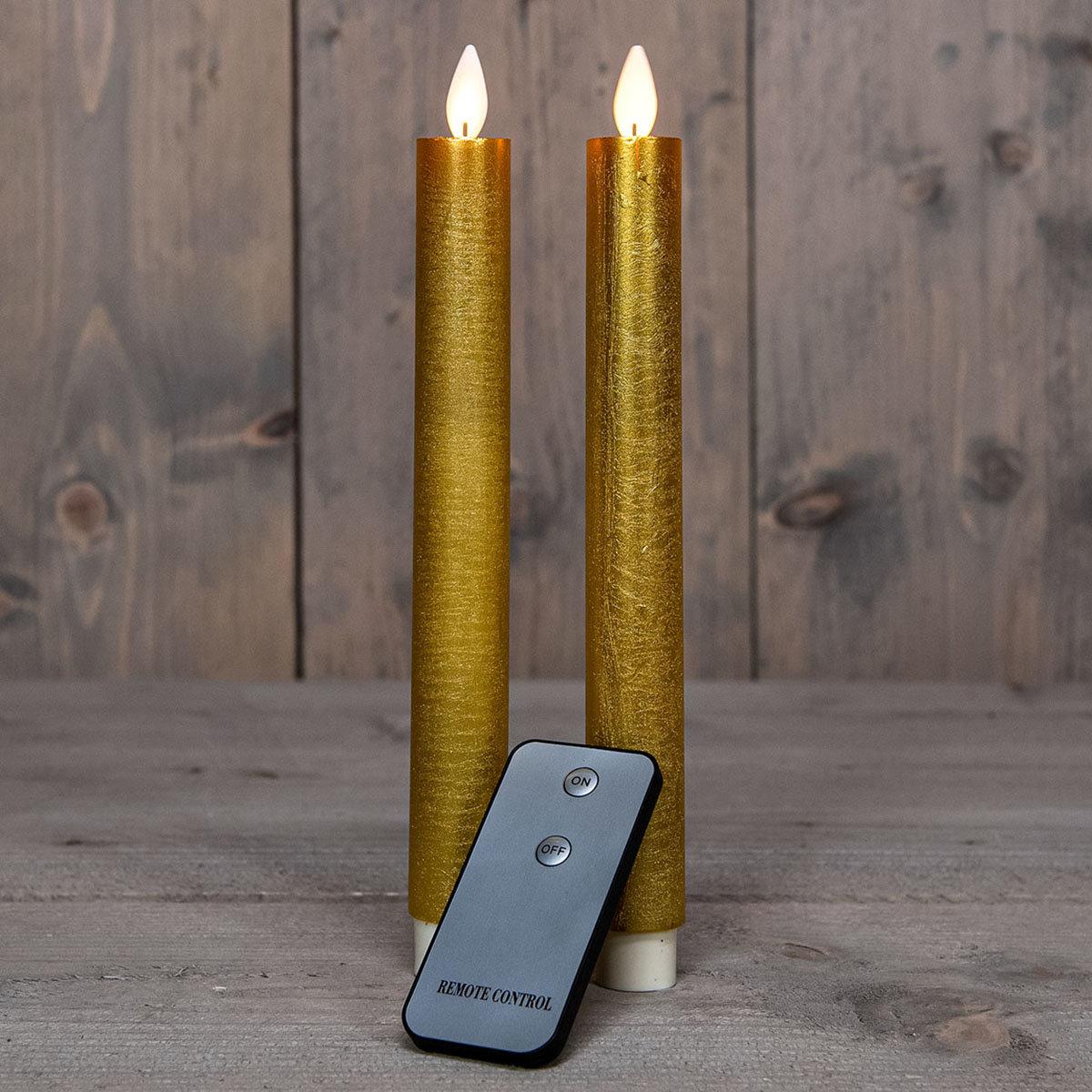 LED-Echtwachs-Stabkerze, 23 cm, gold