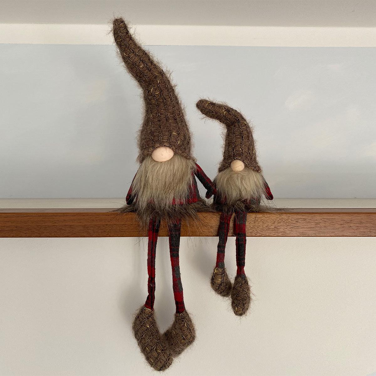 Adventswichtel Remi mit Baumelbeinen, 12x9x53 cm, groß, braun