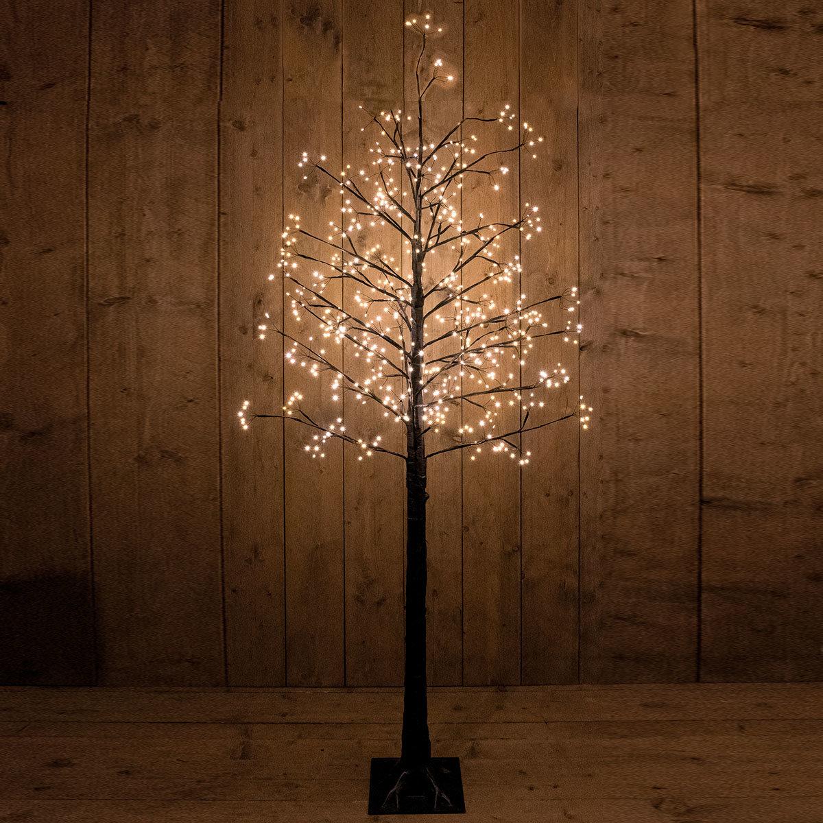 LED-Dekobaum Eiche, 660 LEDs, 200 cm, schwarz
