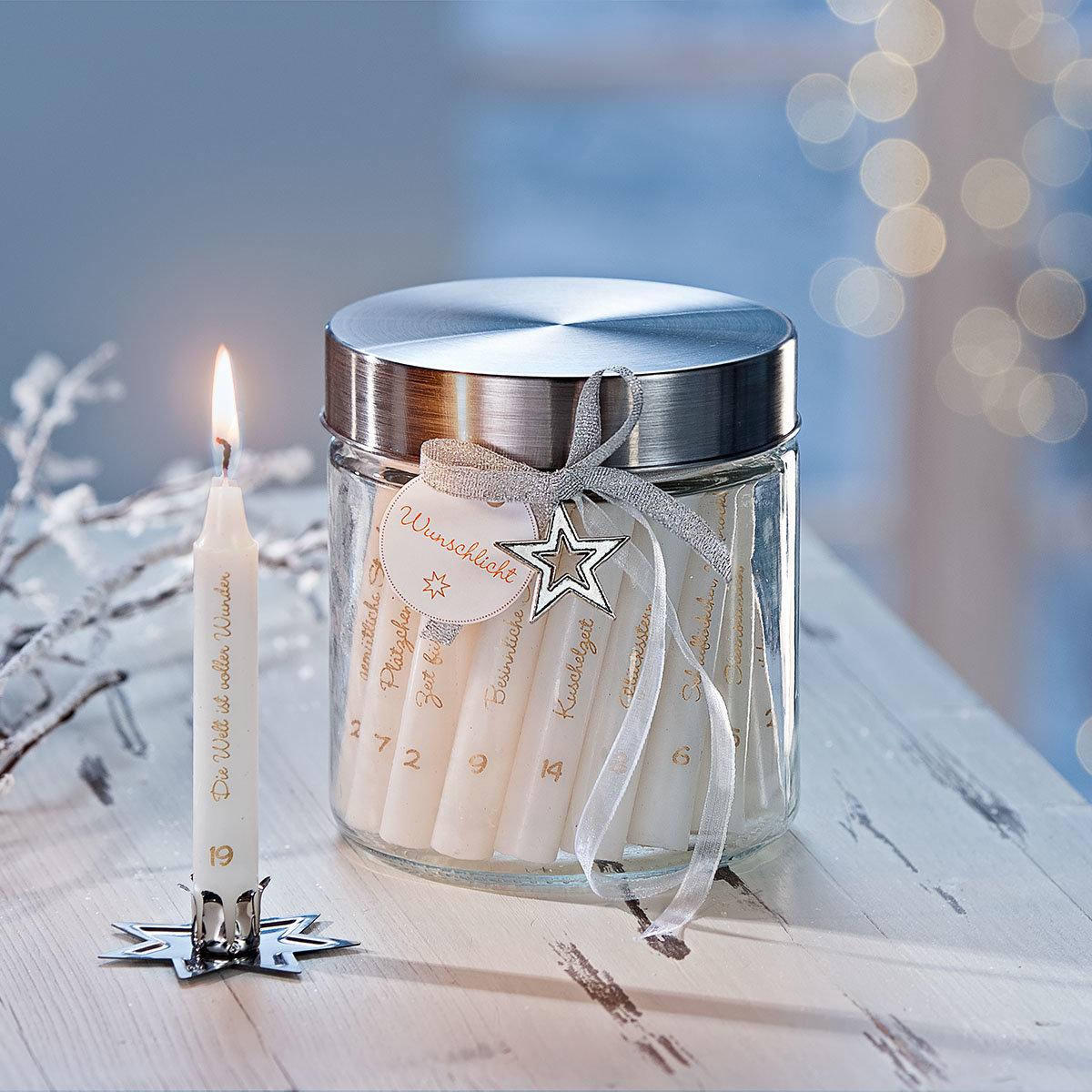 Adventskalender mit 24 Wunsch-Kerzen im Glas