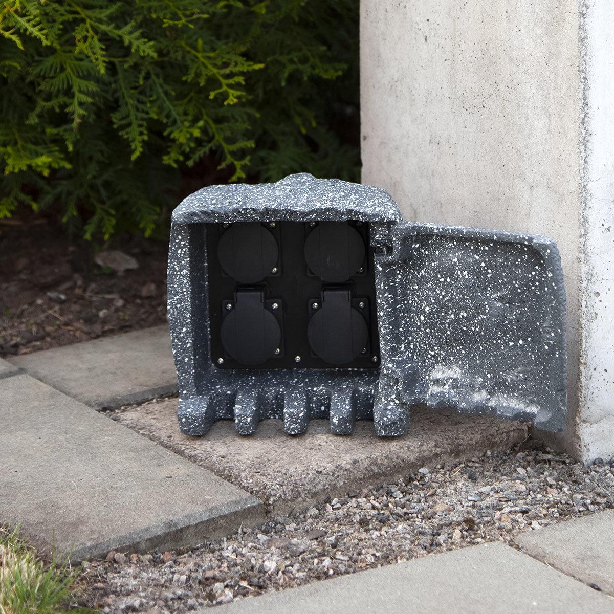 Gartensteckdose Steinoptik mit 4 Steckdosen