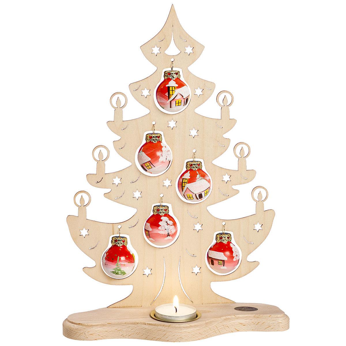 """Teelicht Leuchter  """"Tannenbaum"""" mit roten Glaskugeln"""