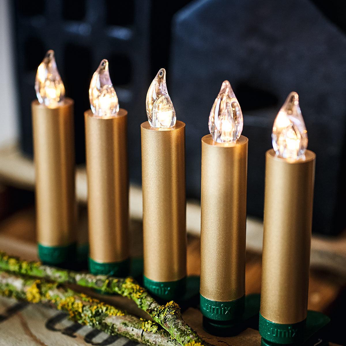 Christbaumkerzen SuperLight Mini Flame, 12er Basis-Set, gold