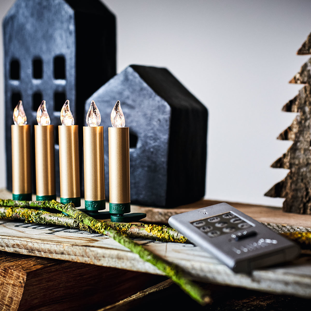 Christbaumkerzen SuperLight Mini Flame, 6er Erweiterungs-Set, gold