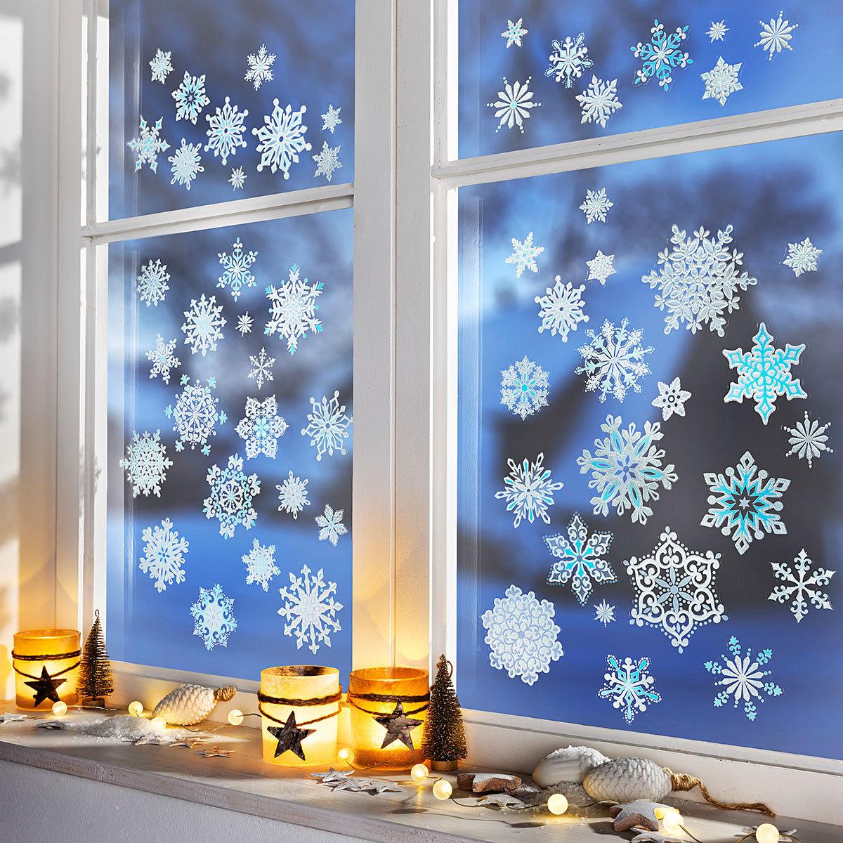 Fenstersticker Eiskristalle blau, 57-teilig