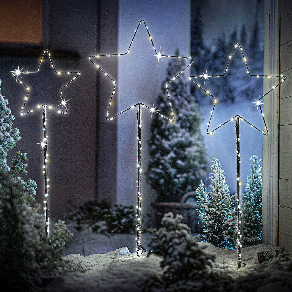 "LED-Gartenstecker ""Sternenglanz"" 3er-Set"
