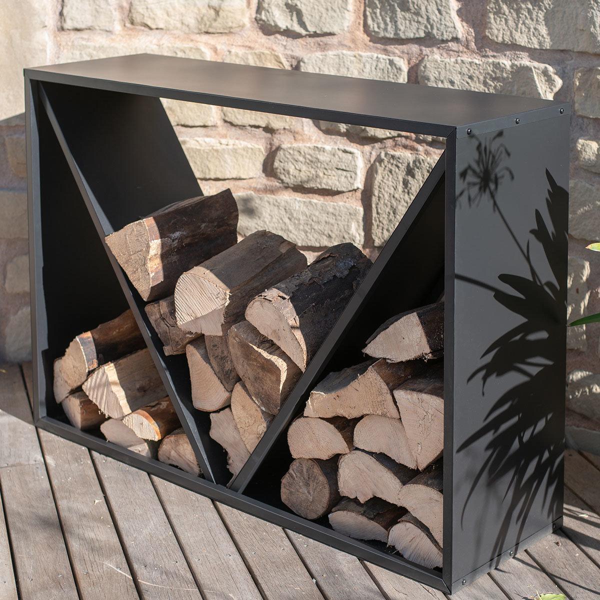 Kaminholzregal 114,5x35x80 cm, schwarz