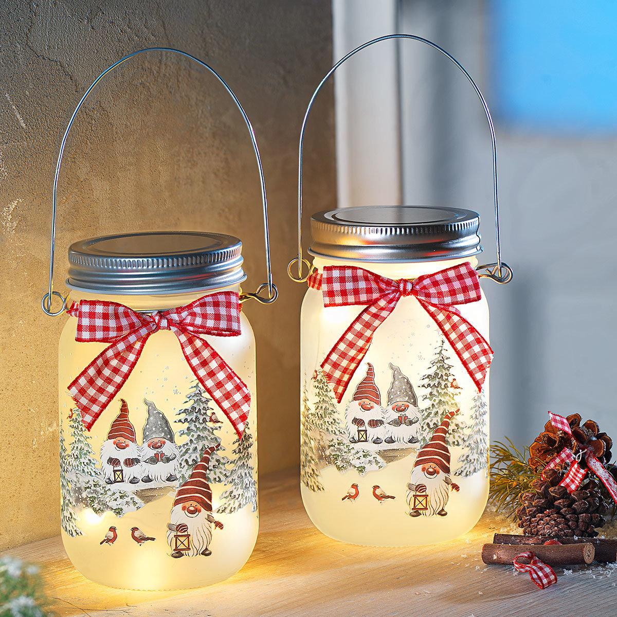 LED-Glasleuchte Wichtelwald, 2er-Set