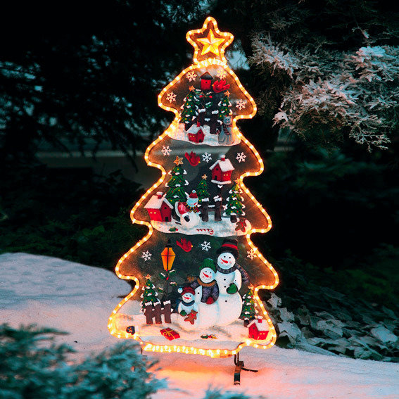 Leucht-Tannenbaum mit Schneemännern