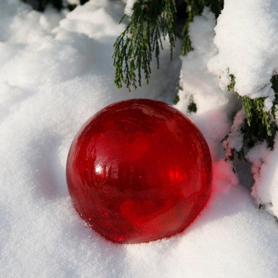 Glaskugel Weihnachtsglanz, rot 15 cm