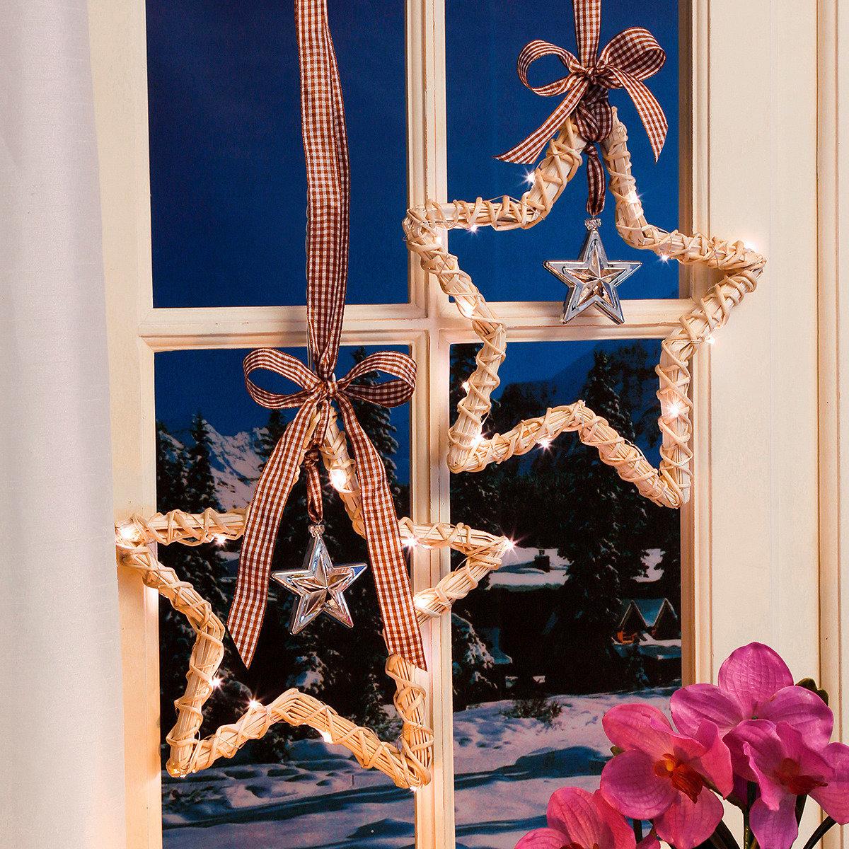 LED-Fensterdeko Landhaus-Weihnacht, 2er-Set