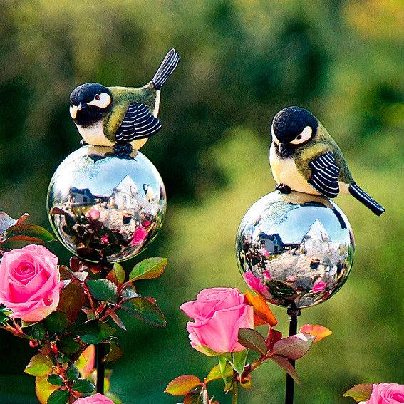 Rosenkugeln mit kohlmeisen 2er set online kaufen bei for Gartendeko neuheiten