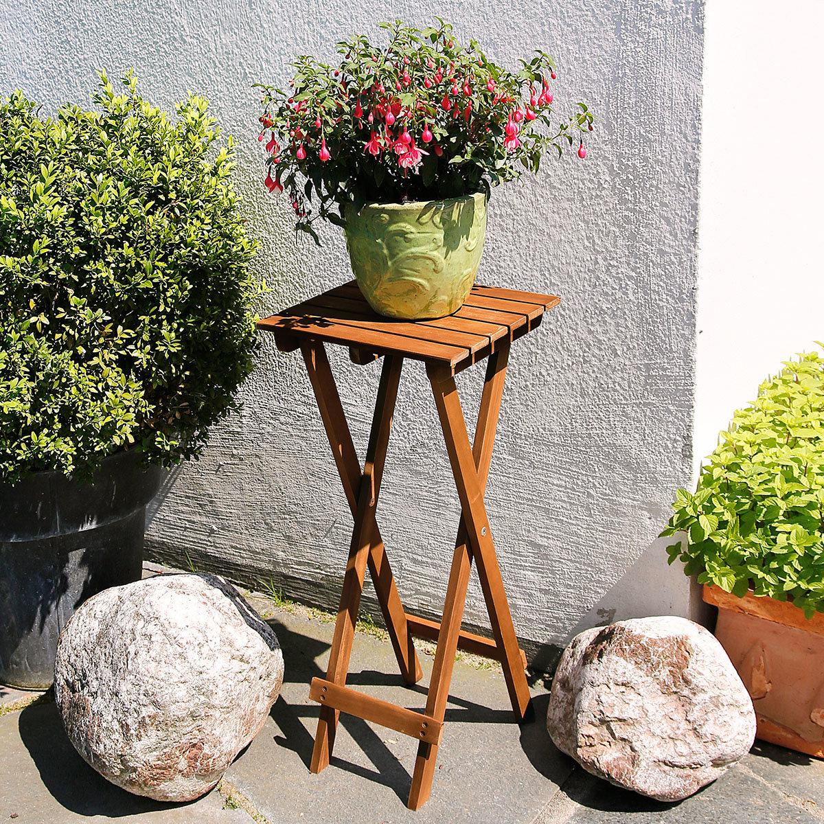 Pflanzenhocker Akzent aus Akazienholz, klappbar