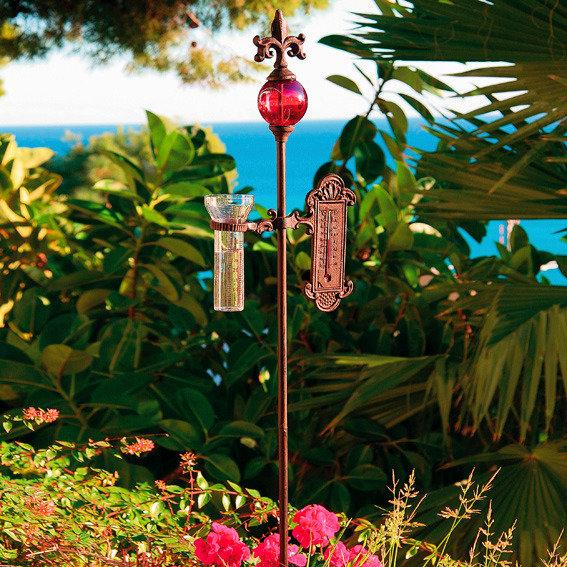 Rosenstab mit Wetterstation, rot