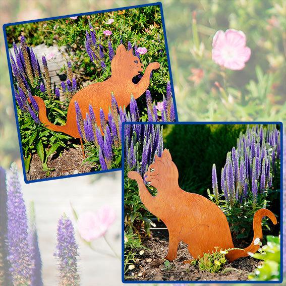 Gartenstecker Katzen, 2er-Set