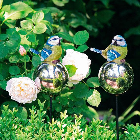 Gartenstecker Blaumeisen auf Silberkugeln, 2er-Set