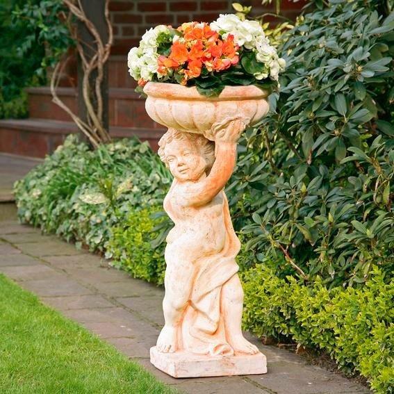 Terracotta-Pflanzgefäß Putto Claudio