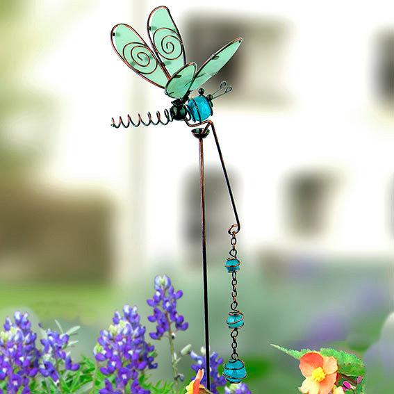 Gartenstecker Libelle mit blauen Kugeln